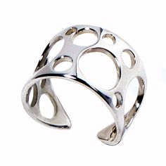 Bubbles Sterling Silver Ring Adjustable Band by arosha on Etsy.
