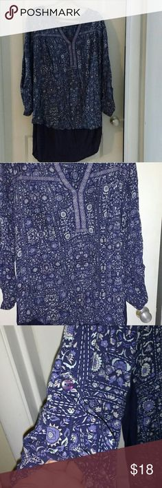 Avenue Tunic Blue Tunic with the look of two shirts at the bottom, Only wore a few times. Avenue Tops Tunics