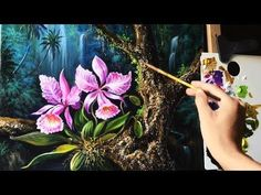 Orchid flowers in the tropical rainforests with Acrylic paints (40 x 50cm) - YouTube