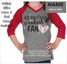 My Brother's Cutest Fan Sister VNeck Raglan, Baseball Sister Tshirt, Baseball Sister Raglan Tee, Custom Baseball Sister Shirt by AllStarCustomBling on Etsy