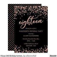 Classy 18th Birthday Invitation Rose Gold Confetti