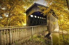 Ada Covered Bridge in Autumn by Randall Nyhof Framed Canvas Prints, Covered Bridges, Landscape Photographers, Photographic Prints, National Parks, Fine Art, Michigan, Fall Landscape