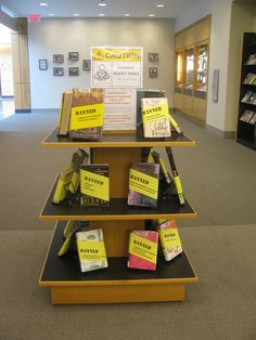 library book dispalys | Banned Books Display #banned #books #library | Library display ideas