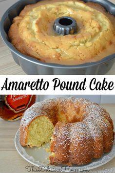 Italian Amaretto Pound Cake has a rich Amaretto Butter Glaze. Delicious and moist amaretto cake with so much flavor. #amarettopoundcake #amarettocake Amaretto Pound Cake Recipe, Amaretto Cake, Pound Cake Recipes, Baking Recipes, Cookie Recipes, Dessert Recipes, Baking Ideas, Dessert Ideas, Picnic Recipes