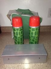 Vintage Aladdin Dual Thermos Picnic Lunch Set w/ Carry Case Green Plaid