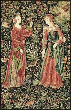 Detail of tapestry. Woven circa 1520 by Pieter van Aeist, a Flemish master weaver in Brussels, most likely for the French market where mille-fleur designs were popular.