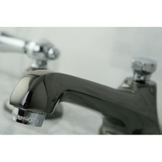 Kingston Brass NS4467BAL Water Onyx Black Nickel/Polished Chrome Two Handle Widespread  Bathroom Faucets |