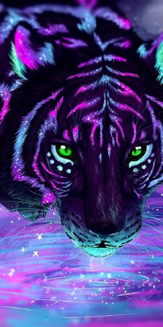Cute Cartoon Animals, Anime Animals, Cute Animals, Cute Fantasy Creatures, Mythical Creatures Art, Wolf Wallpaper, Animal Wallpaper, Tiger Wallpaper Iphone, Neon Wallpaper