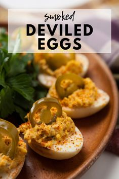 Smoked deviled eggs are a show stopping twist on an old classic. These smoked deviled eggs are a next-level flavor upgrade that you've simply got to try! Smoked Deviled Eggs Recipe, Smoked Eggs, Jalapeno Deviled Eggs, Traeger Recipes, Grilling Recipes, Vegetarian Grilling, Grilling Ideas, Tailgating Recipes, Eggs