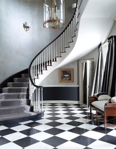 Beautiful black and white tiled entry.