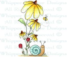 Stand of Daisies - Whimsical - Floral/Garden - Rubber Stamps - Shop