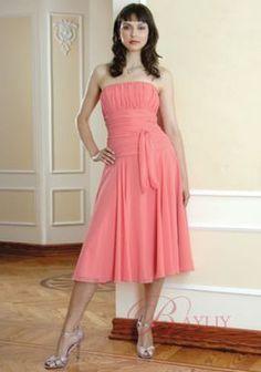 Chiffon Strapless Empire Waist Knee-length Pink Petite Dresses Special Occasion WPD01294