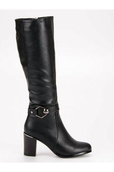 Klasické čierne čižmy pod koleno Super Me Biker, Platform, Ankle, Boots, Fashion, Crotch Boots, Moda, Wall Plug, Fashion Styles