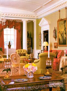 Love all the architectural details and the colors! David Easton ~ Cowtan & Tout wallpaper coral sofa