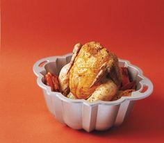 Bundt pan with chicken