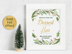 Dessert Bar Sign Printable ~ Winter Christmas Wedding Holiday ~ Instant Download 8x10 5x7 4x6 ~ Wrea