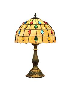 Round Stained Glass Peacock Tiffany Table Lamp