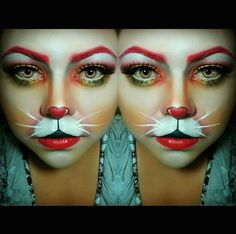 41 Ideas Makeup Halloween Bunny White Rabbits For 2019 White Rabbit Makeup, Bunny Makeup, Rabbit Halloween, Halloween Fun, Halloween Face Makeup, Alice In Wonderland Makeup, White Rabbit Costumes, Mad Hatter Party, Artistic Make Up