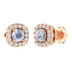 Earrings in 18k Rose Gold with Aquamarine, VVS Diamond. Ok I love these. I have a ring to match them.