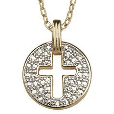 Diamond Accent, Cross Medallion Pendant Necklace - jcpenney