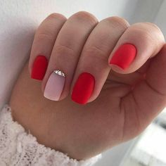 37 Red Nail Art Designs To Get Inspired red nails To Get Inspired - Gelish Nails, Nail Manicure, My Nails, Nail Polish, Moon Manicure, Red Nail Art, Red Acrylic Nails, Red Matte Nails, Short Nail Designs