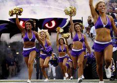 A Baltimore Ravens cheerleader has been barred from the Super Bowl. Ravens Cheerleaders, Cheerleading Uniforms, Cheerleader Costume, Ice Girls, American Sports, Baltimore Ravens, Sports Photos, Look Chic, These Girls