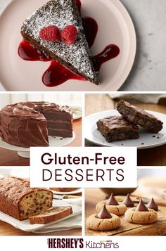 "Who knew you could put ""gluten-free"" and ""delicious chocolate cake"" in the same sentence? These delectable gluten-free desserts are perfectly flour-free and easy to make! Try one (or all!) of these HERSHEY'S recipes today."