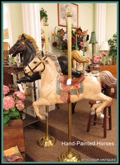Turned my daughters' rocking horse into a carousel horse -mine has a wooden base Carosel Horse, Carousel Party, Painted Pony, Hand Painted, Wooden Horse, Hobby Horse, Horse Crafts, Handmade Furniture, Zebras