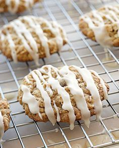 Iced Oatmeal-Applesauce Cookies with maple icing--note there's an error in the recipe. Make the icing with maple+confectioner's sugar.