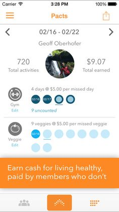 Pact: Earn Cash for Exercise, Healthy Living, and Eating Right by GymPact...All apps interact with MyFitnessPal app
