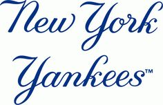 New York Yankees Wordmark Logo (1950) - New York above Yankees scripted in blue