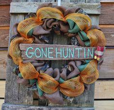 Gone Hunting Burlap Wreath Wood Sign Burlap by ShabyChicWreaths, $55.00