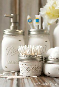 mason-jar-crafts-painted-distressed-bathroom-organizer-soap-dispenser-toothbrush-holder 2 of 2 (Diy Bathroom Mason Jars) Pot Mason Diy, Mason Jar Crafts, Diy Home Decor Projects, Diy Projects To Try, Decor Ideas, 31 Ideas, Craft Projects, Decorating Ideas, Mason Jar Bathroom