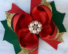 Christmas hair bow, Red Green Gold hair bow, Holiday hair bow, Red hair