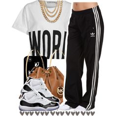 A fashion look from October 2014 featuring Bitching & Junkfood t-shirts, adidas Originals activewear pants and Concord sneakers. Browse and shop related looks.