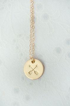 Best Friend Arrow Gold Necklace Pendant Boho Chic by LimonBijoux