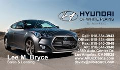2013 Hyundai Veloster Business Card ID# 20625