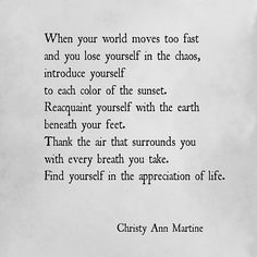 When your world moves too fast and you lose yourself in the chaos.... Find yourself in the appreciation of life.