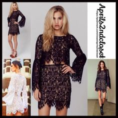 """❗️1-HOUR SALE❗️FOR LOVE & LEMONS Crochet Lace Top FOR LOVE & LEMONS Vika Crochet Lace Crop Top 💟 NEW WITH TAGS 💟                                                 * Beautiful Allover latticed floral crochet lace design & scalloped eyelash trim * Jewel neck & long billowy bell sleeves   * A pullover style; A lightweight, semi-sheer layering piece * Approx 17"""" long * Fits approx sizes 2-4 Fabric: 68% polyester & 32% Nylon Color: Black   🚫No Trades🚫 ✅Offers Considered*/Bundle Discounts✅…"""