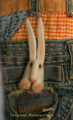 Купить Брошь Заяц-побегаец - белый, брошь, брошь из шерсти, брошь заяц, зайчик