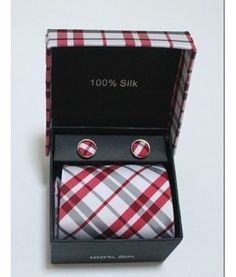 """4 Piece Red & Grey Plaid    An amazing 4 piece 100% silk tie, cufflink and pocket square set with matching box. It is a great tie combination featuring a strong red and contrast grey plaid design. This tie is 4"""" wide and 55"""" long"""
