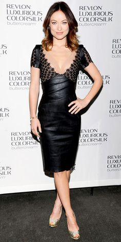 Olivia Wilde in a black leather Talbot Runhof cocktail dress kicking off the Revlon Luxurious ColorSilk launch
