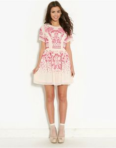 Pink Soda Caviar Beaded Skater Dress | BANK Fashion