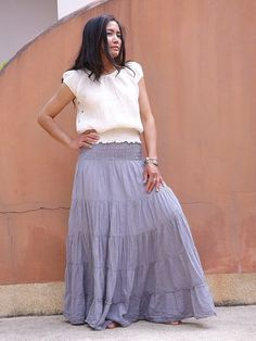 Boho Long Skirt ...Long Skirt ...Color Grey by Ablaa on Etsy, $32.00