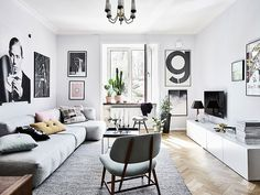apartamento escandinavo blanco y negro