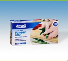 Ansell Powder Free Disposable Gloves: a hygienic way to protect your hands and food from contamination. Eliminates the need to wash hands after use. Vinyl gloves - suitable for people with allergies to natural rubber latex.