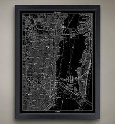 Miami Map Print. Vintage 1950 Black Print Poster