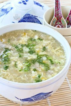 Chinese Chicken and Corn Soup Made this:  marinaded the chopped chicken first in a sesame oil/lite soy glaze.  Also used egg whites only (3) and matchstick chopped mushrooms.  Did one can of creamed corn and one of regular sweet kernels.  All worked just fine!