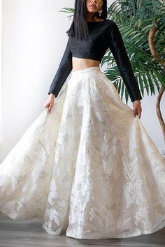 indian designer wear Party Wear White And Black Jacquard Top With Lehenga - Gown Party Wear, Party Wear Indian Dresses, Indian Fashion Dresses, Designer Party Wear Dresses, Indian Gowns Dresses, Party Wear Lehenga, Dress Indian Style, Indian Designer Outfits, Indian Wedding Outfits