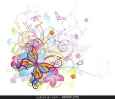 Borders For Poster Flower | Abstract butterfly floral background stock vector clipart, Abstract ...